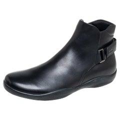 Prada Sport Black Leather Velcro Strap Ankle Boots Size 42