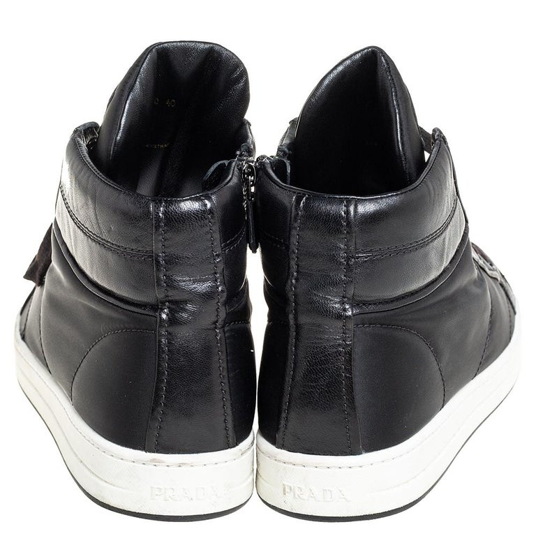 Women's Prada Sport Black Nylon And Leather High Top Sneakers Size 40 For Sale