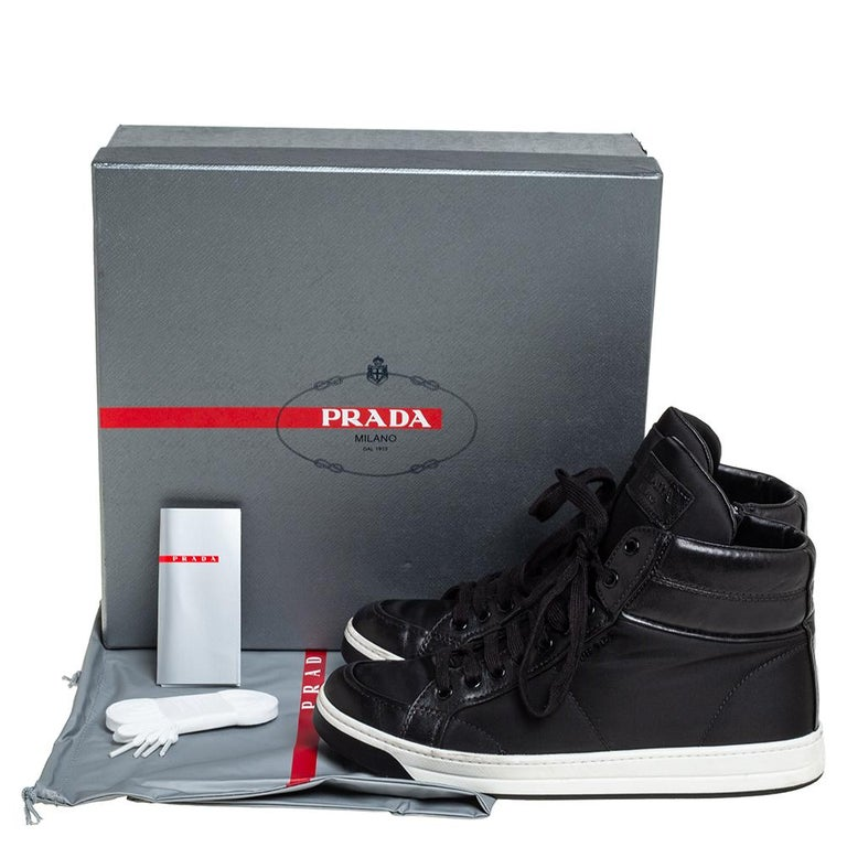 Prada Sport Black Nylon And Leather High Top Sneakers Size 40 For Sale 3