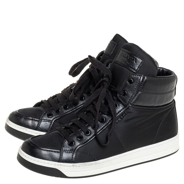 Prada Sport Black Nylon And Leather High Top Sneakers Size 40 For Sale 4