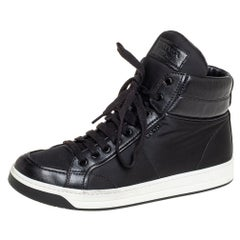 Prada Sport Black Nylon And Leather High Top Sneakers Size 40