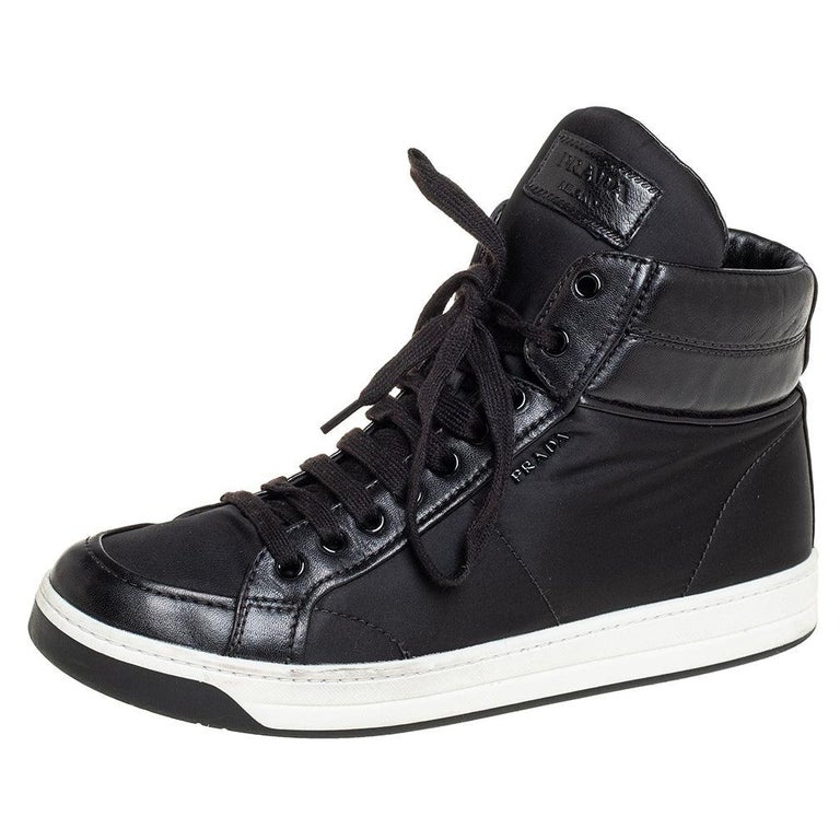 Prada Sport Black Nylon And Leather High Top Sneakers Size 40 For Sale