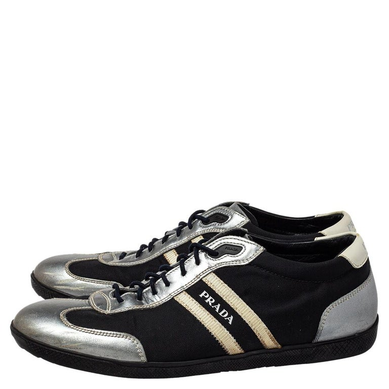 Prada Sport Black/Silver Nylon And Leather Low Top Sneakers Size 42 For Sale 1