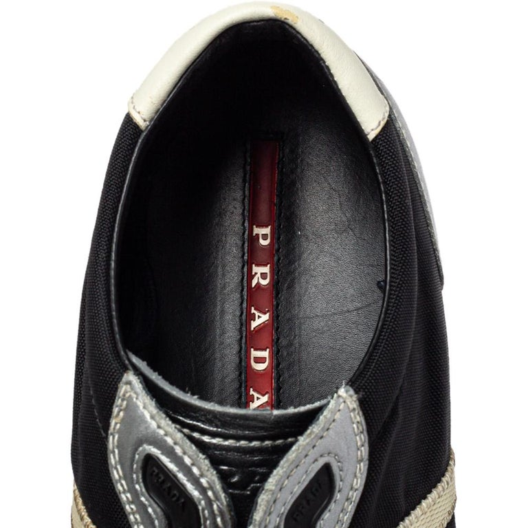 Prada Sport Black/Silver Nylon And Leather Low Top Sneakers Size 42 For Sale 2