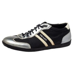 Prada Sport Black/Silver Nylon And Leather Low Top Sneakers Size 42