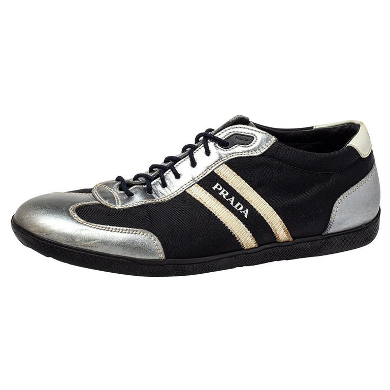 Prada Sport Black/Silver Nylon And Leather Low Top Sneakers Size 42 For Sale