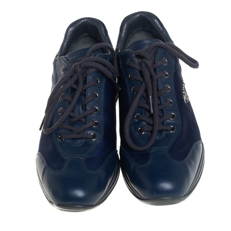 Black Prada Sport Blue Nylon And Leather Low Top Sneakers Size 39 For Sale