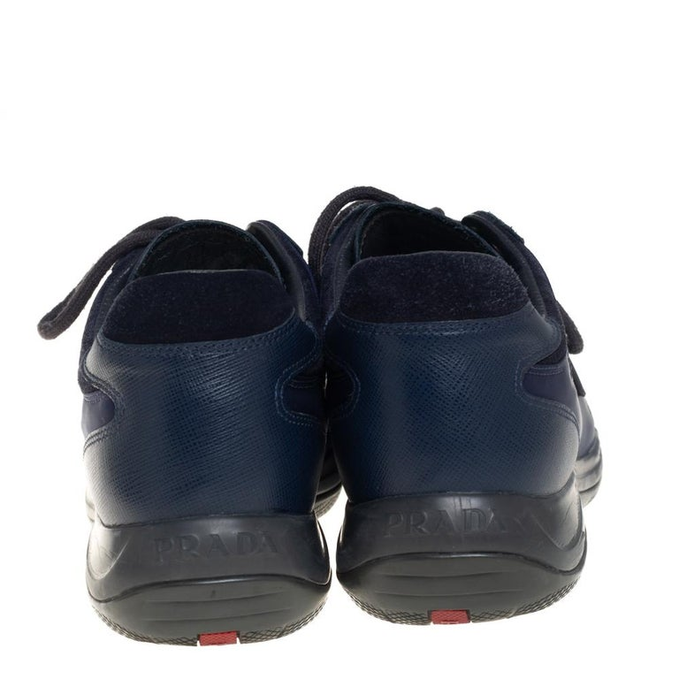 Prada Sport Blue Nylon And Leather Low Top Sneakers Size 39 In Good Condition For Sale In Dubai, Al Qouz 2