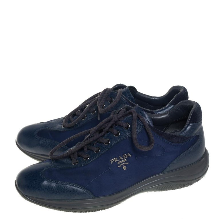 Women's Prada Sport Blue Nylon And Leather Low Top Sneakers Size 39 For Sale