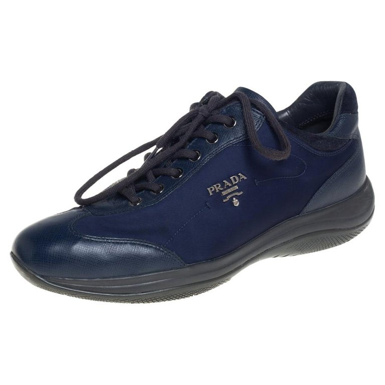 Prada Sport Blue Nylon And Leather Low Top Sneakers Size 39 For Sale