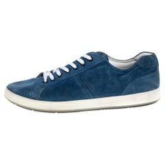 Prada Sport Blue Suede Low Top Sneakers Size 46