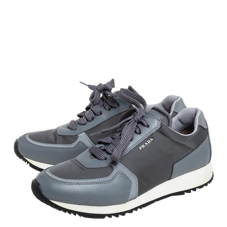 Gray Prada Sport Grey Nylon And Leather Low Top Sneakers Size 39.5 For Sale