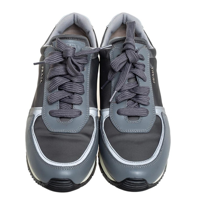 Prada Sport Grey Nylon And Leather Low Top Sneakers Size 39.5 In Good Condition For Sale In Dubai, Al Qouz 2