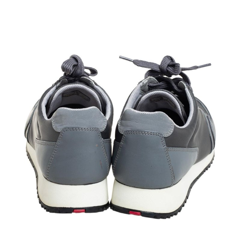 Women's Prada Sport Grey Nylon And Leather Low Top Sneakers Size 39.5 For Sale