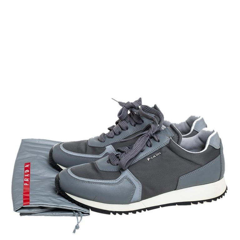 Prada Sport Grey Nylon And Leather Low Top Sneakers Size 39.5 For Sale 2