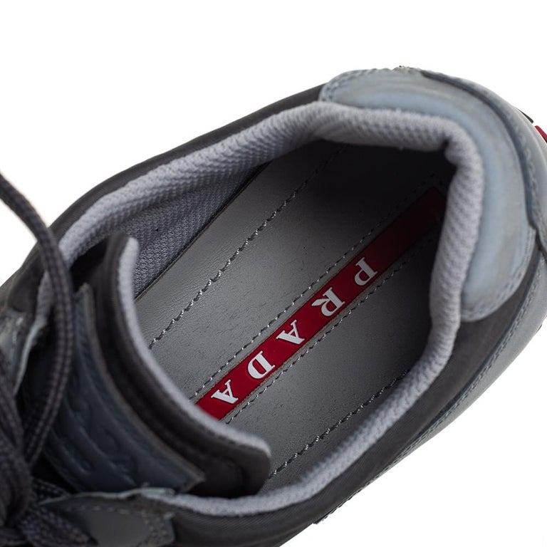 Prada Sport Grey Nylon And Leather Low Top Sneakers Size 39.5 For Sale 3