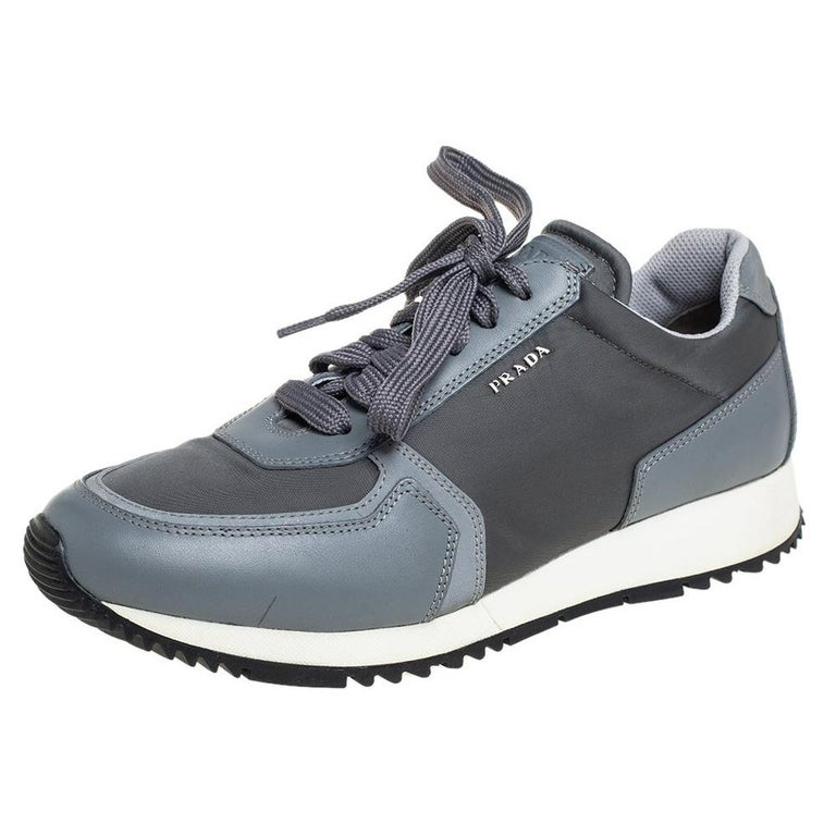Prada Sport Grey Nylon And Leather Low Top Sneakers Size 39.5 For Sale