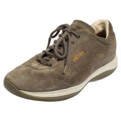 Prada Sport Grey Suede Low Top Sneakers Size 38