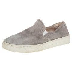 Prada Sport Grey Suede Slip On Sneakers Size 38.5
