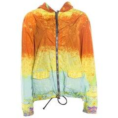 Prada Sport Multicolor Acid Effect Zip Front Belted Hooded Jacket L