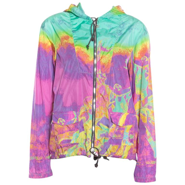 e8f925e69 Prada Sport Multicolor Printed Zip Front Belted Hooded Jacket M For Sale