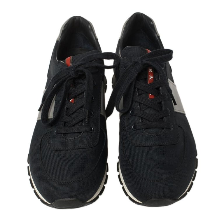 Black Prada Sport Navy Blue Match Race Fabric and Leather Low Top Sneakers Size 43 For Sale