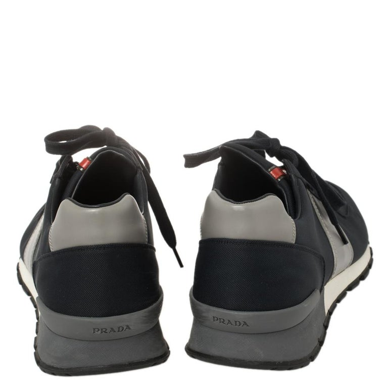 Prada Sport Navy Blue Match Race Fabric and Leather Low Top Sneakers Size 43 In Good Condition For Sale In Dubai, Al Qouz 2