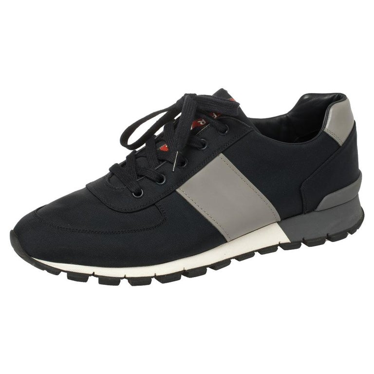 Prada Sport Navy Blue Match Race Fabric and Leather Low Top Sneakers Size 43 For Sale
