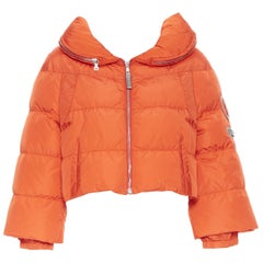PRADA SPORT orange nylon goose down feather padded puffer cropped jacket IT40 S