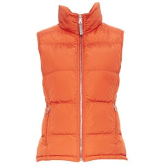 PRADA SPORT orange nylon goose down feather padded puffer vest jacket IT40 S