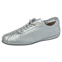 Prada Sport Silver Woven Leather Low Top Sneakers Size 37.5