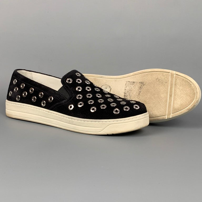 PRADA Sport Size 7.5 Black & Silver Grommet Suede Slip On Sneakers In Good Condition For Sale In San Francisco, CA