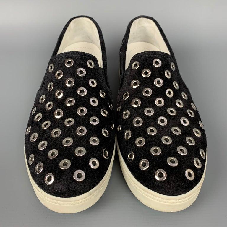 Women's PRADA Sport Size 7.5 Black & Silver Grommet Suede Slip On Sneakers For Sale