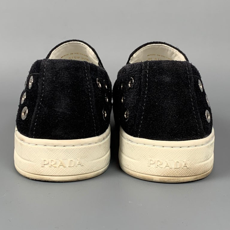 PRADA Sport Size 7.5 Black & Silver Grommet Suede Slip On Sneakers For Sale 1