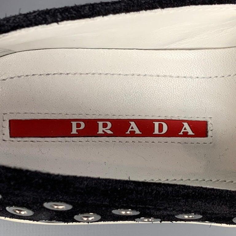 PRADA Sport Size 7.5 Black & Silver Grommet Suede Slip On Sneakers For Sale 3