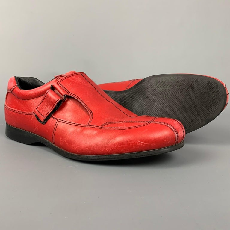 PRADA Sport Size 9.5 Red Leather Hook & Loop Loafers In Good Condition For Sale In San Francisco, CA