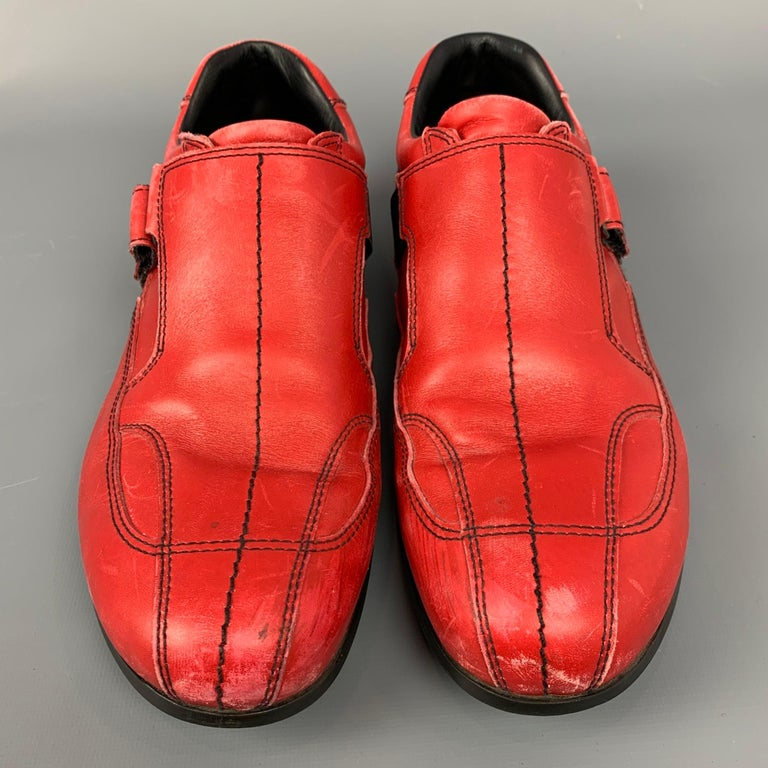 Men's PRADA Sport Size 9.5 Red Leather Hook & Loop Loafers For Sale