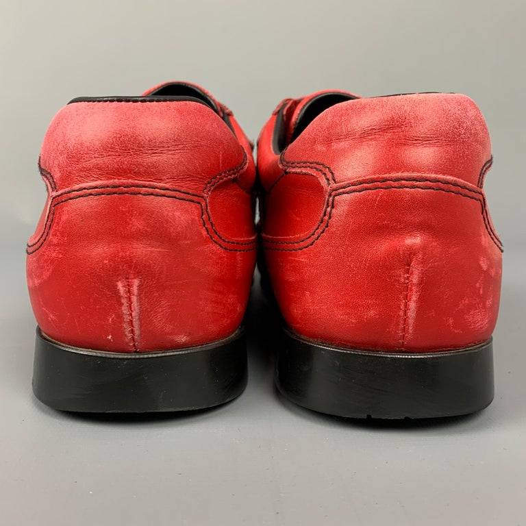 PRADA Sport Size 9.5 Red Leather Hook & Loop Loafers For Sale 1