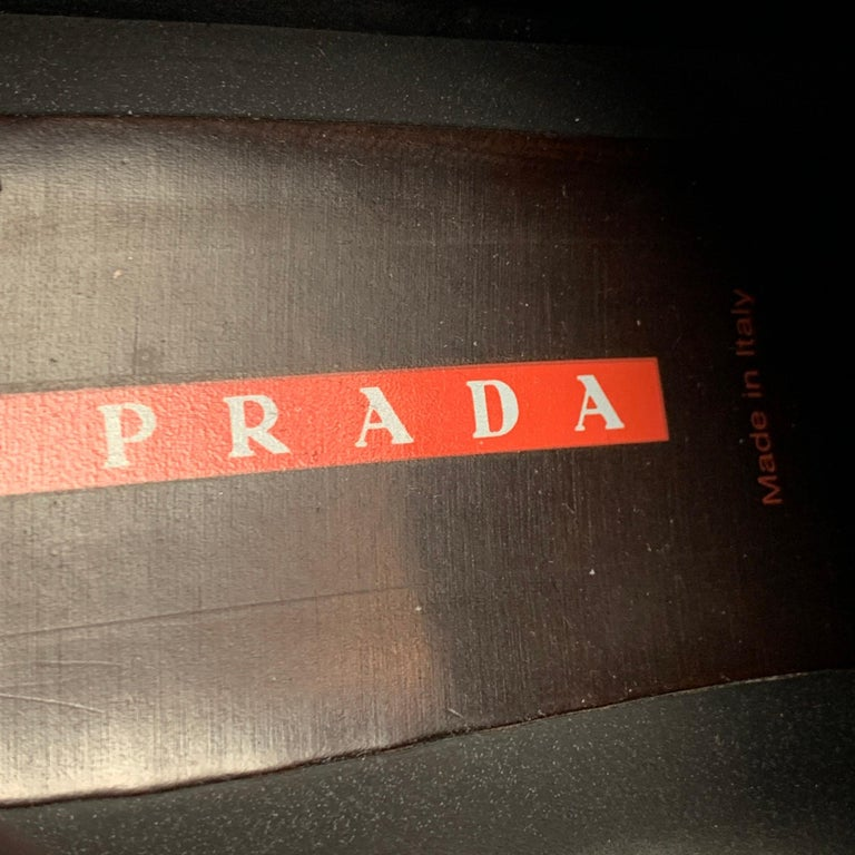 PRADA Sport Size 9.5 Red Leather Hook & Loop Loafers For Sale 3