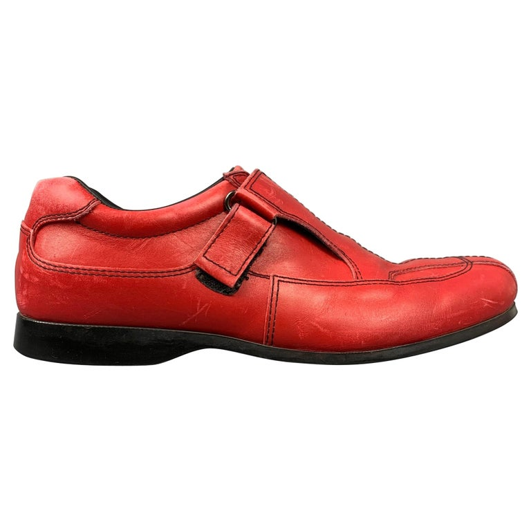 PRADA Sport Size 9.5 Red Leather Hook & Loop Loafers For Sale