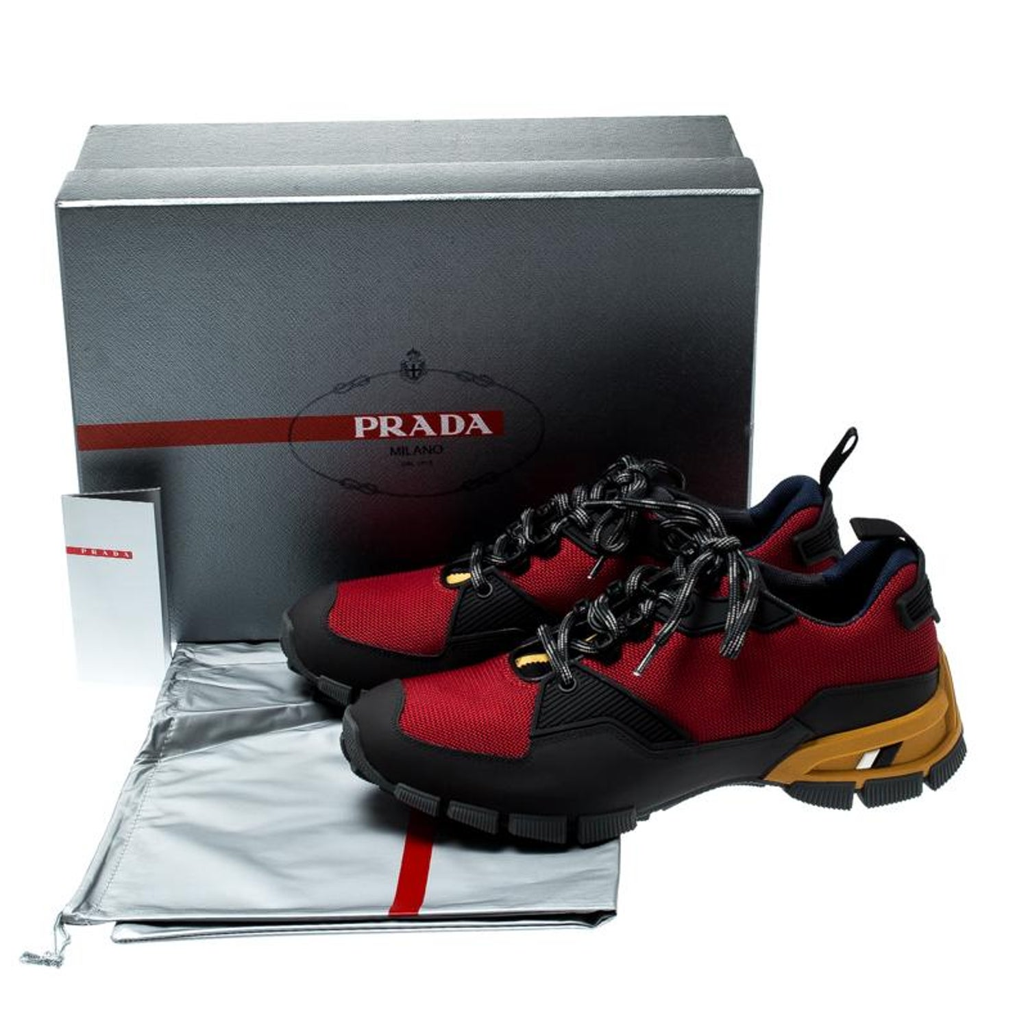 7d93a061 Prada Sport Tricolor Mesh and Rubber Lace Up Sneakers Size 40.5