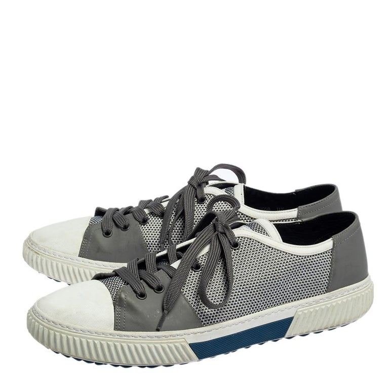 Gray Prada Sport White/Grey Nylon Knit And Rubber Lace Up Sneakers Size 45.5 For Sale