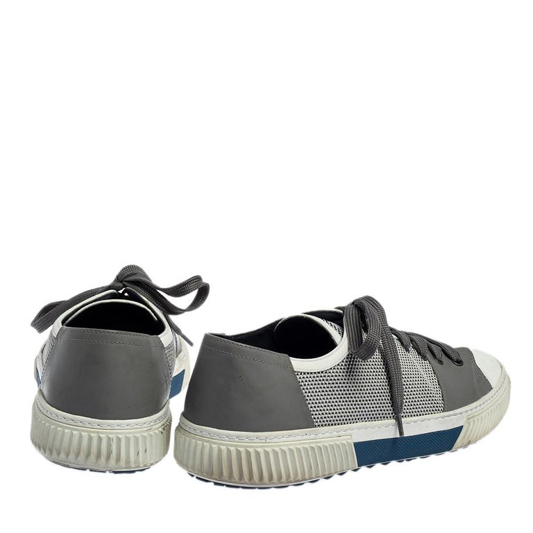 Men's Prada Sport White/Grey Nylon Knit And Rubber Lace Up Sneakers Size 45.5 For Sale