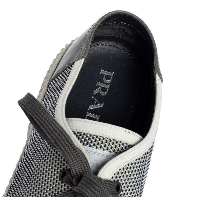 Prada Sport White/Grey Nylon Knit And Rubber Lace Up Sneakers Size 45.5 For Sale 2