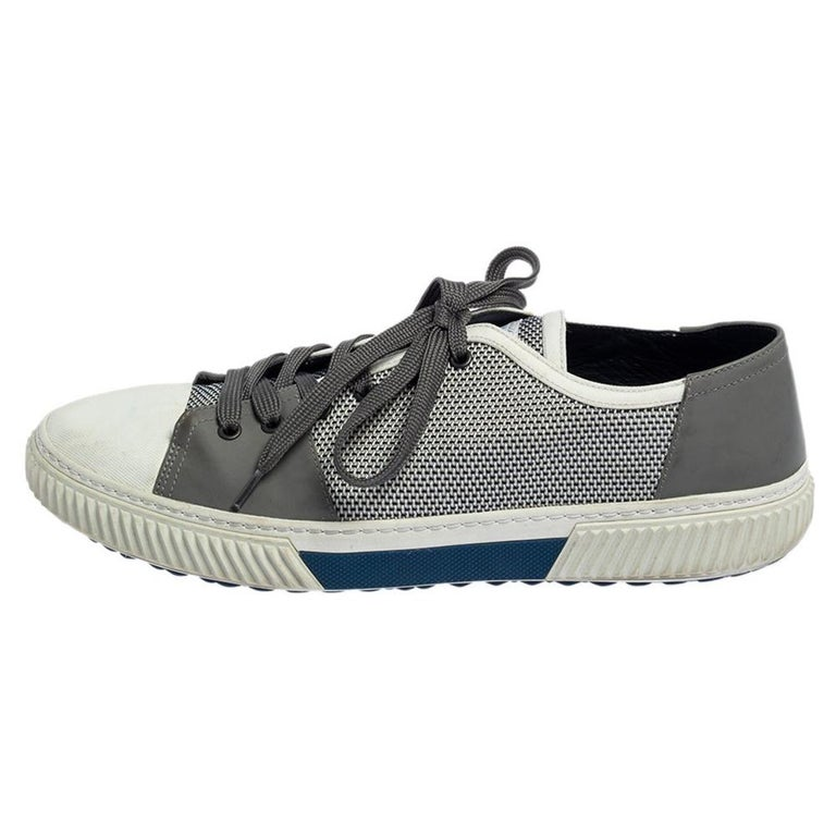 Prada Sport White/Grey Nylon Knit And Rubber Lace Up Sneakers Size 45.5 For Sale