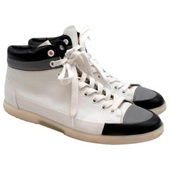 Prada Sport White Leather Lace Up High Top Trainers - Size EU 45