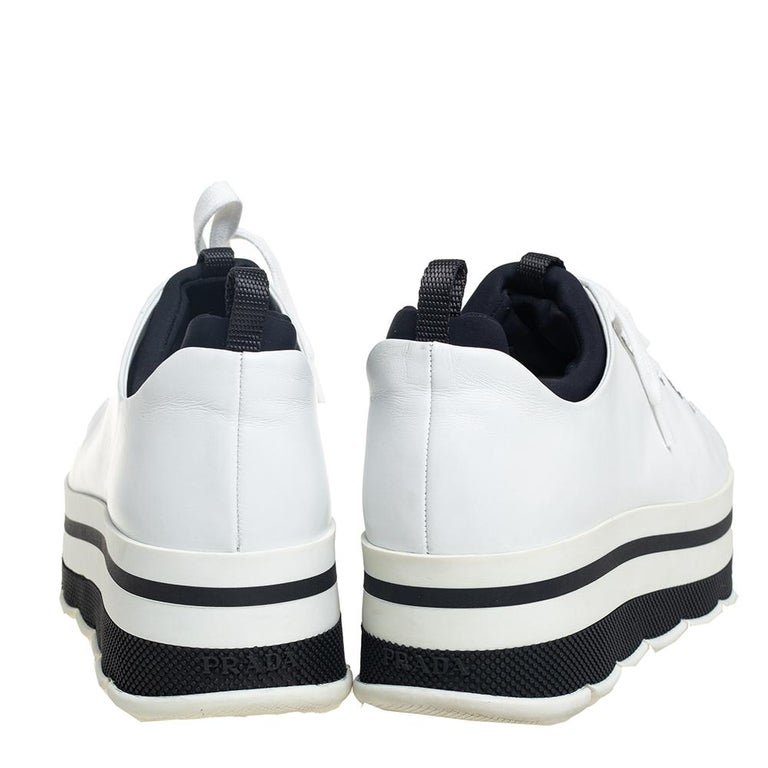 Gray Prada Sport White Leather Platform Sneakers Size 38 For Sale