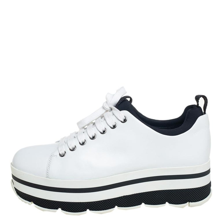 Women's Prada Sport White Leather Platform Sneakers Size 38 For Sale