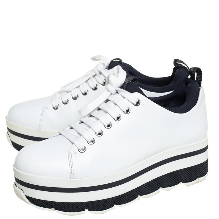 Prada Sport White Leather Platform Sneakers Size 38 For Sale 2