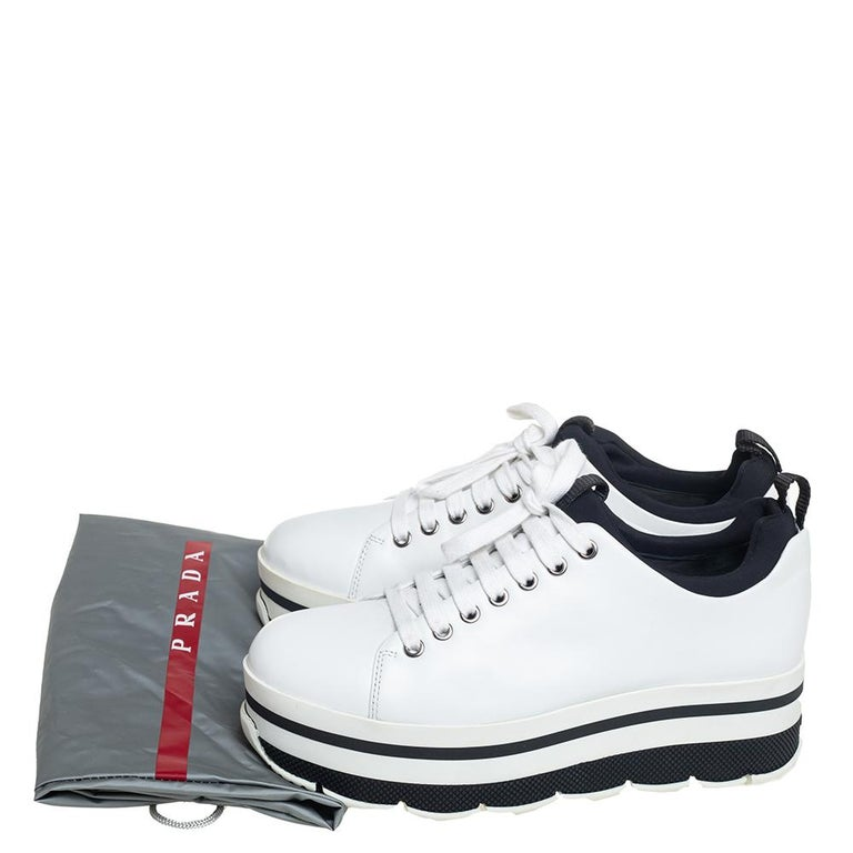 Prada Sport White Leather Platform Sneakers Size 38 For Sale 3